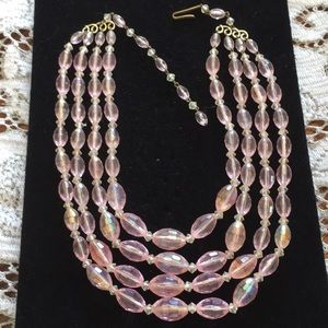 Vintage 4 strand iridescent pink beaded necklace
